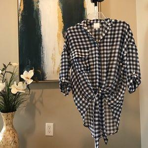 Skylar + Madison Checker-print Tie Blouse